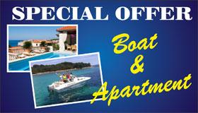 Speciální nabídka apartmánů v Chorvatsku s lodí ZDARMA !